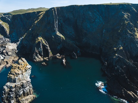 Island cliffs in Ireland, Aerial view in summer