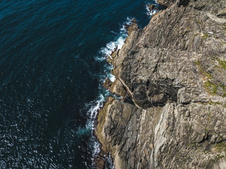 Island cliffs in Ireland, Aerial view in summer