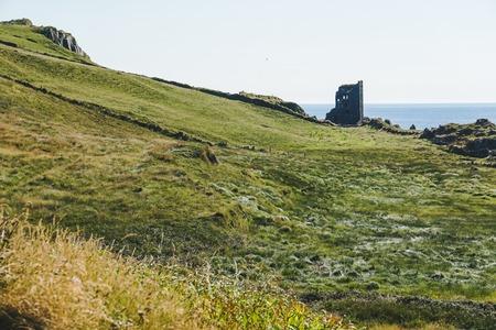Castle in island above the sea in Ireland