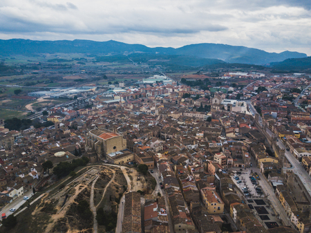 Aerial view of Medieval town Montblanc located near the Tarragona