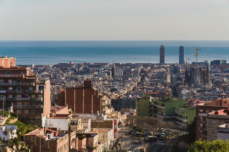 Barcelona panoramic view from mountain