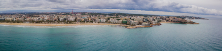 Panoramic aerial view of Salou beach in winter