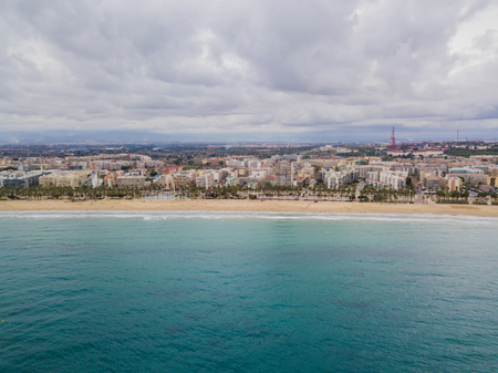 Aerial view of Salou beach in winter
