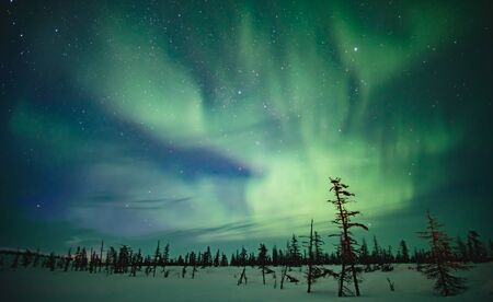 Fabulous sky in the Russian Arctic in winter