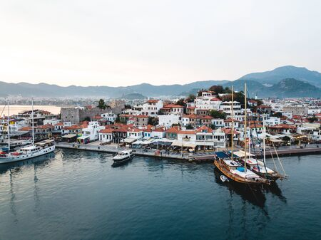 Marmaris / Turkey - 26.10.2019: Marina in Marmaris, aerial shoot
