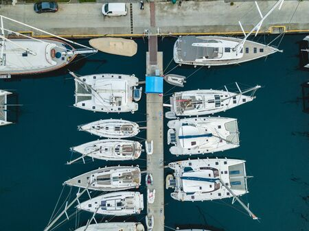 Marmaris / Turkey - 26.10.2019: Marina in Marmaris, aerial shoot. Yachts.