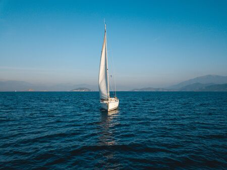 Aerial view of sailing in the open sea in Turkey