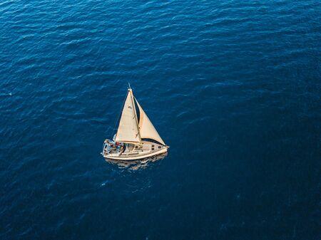 Turkey, Mediterranean sea - 27.10.2019: Fly around the yacht in open sea Editorial