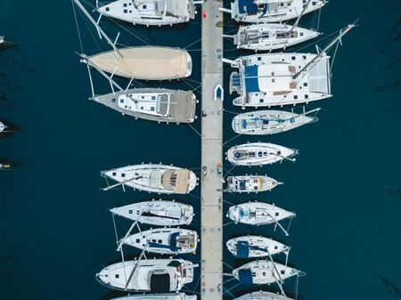 Marmaris / Turkey - 26.10.2019: Marina in Marmaris, aerial video. Yachts.