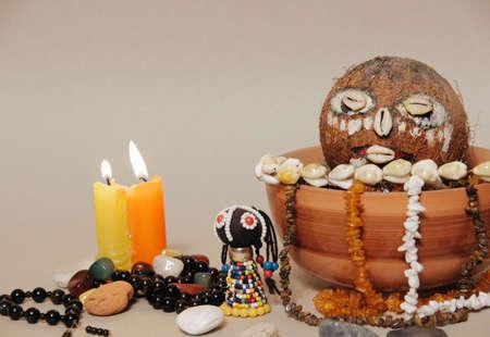 Occult altar for African Gods. Shamanism