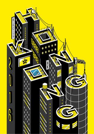 Hong Kong / isometric vector illustration