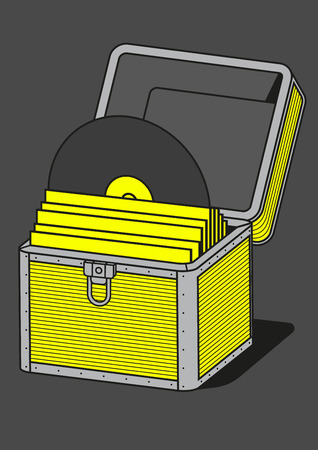 hinges: Vinyl storage case, vector illustration, equipment for musician Illustration