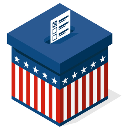 polling booth: box for a vote. presidential elections in the United States. vector Illustration