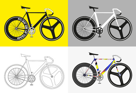 fixed: Flat fixed gear bicycle vector illustration vector outline