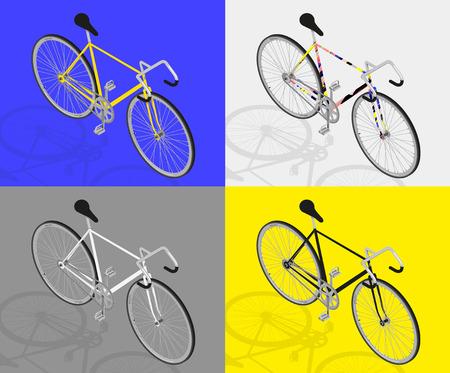 clavados: bicicleta de piñón fijo vector visión Perpective 3d Vectores