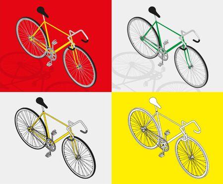 fixed: bicicleta de pi��n fijo vector visi�n Perpective 3d Vectores