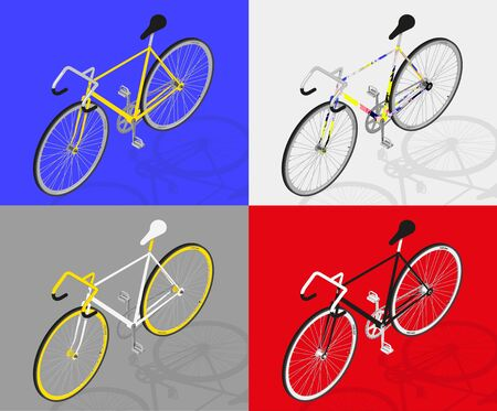 fixed: fixed gear bike vector perpective view 3d Illustration