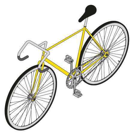 perpective: fixed gear bike vector perpective view 3d Illustration