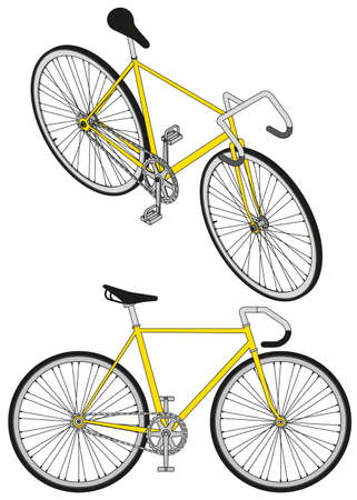 fixed gear bike vector perpective view 3d Illustration