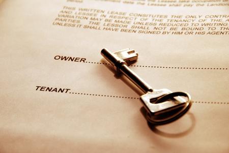 Schlüssel auf einem Lease-Dokument