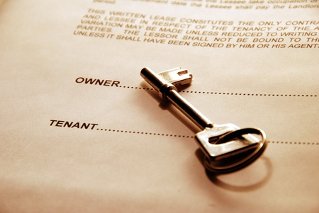 lessee: key lying on a lease document