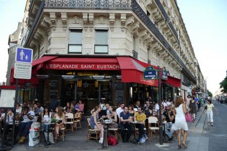paris street: paris, france cafe scene