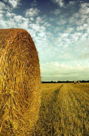 french countryside with hay bale photo