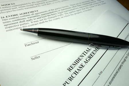 purchase: residential purchase agreement document Stock Photo
