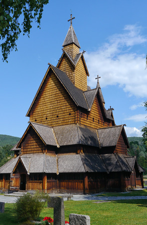 stave: oldest church in norway, heddal stave church Stock Photo