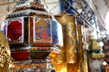 gold souk: old lights for sale in north african medina