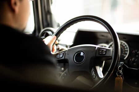driving car chauffeur personal driver taxi hummer wedding car Stock Photo
