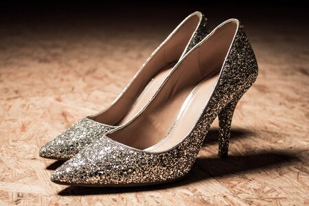 glitter high heels woman shoes shiny fashion. High quality photo Foto de archivo