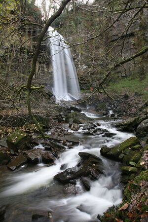 downstream: Melincourt Waterfall near neath, South wales from downstream Stock Photo
