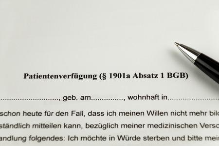 German Advance healthcare directive Form - Patientenverfuegung Stock Photo