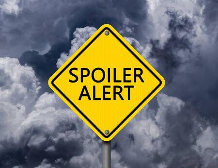 Yellow Warning Sign Spoiler Alert with Dark Clouds