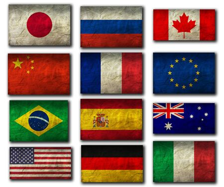 Flags on Paper Texture
