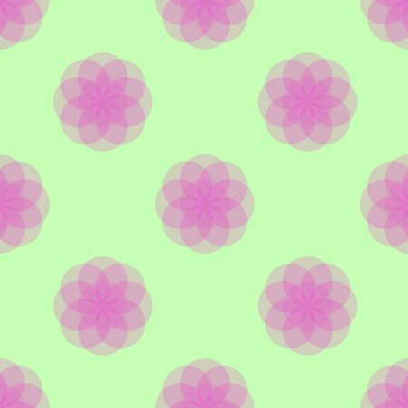 Seamless Floral Pattern Magenta on Green