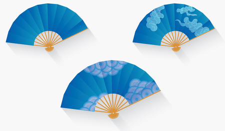 japanese fan: illustration set of blue japanese fan.