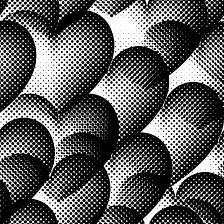 heart tone: Pattern with halftone hearts. Illustration