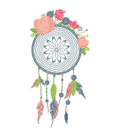 american history: Hand drawn native american dreamcatcher with feathers and colorful flowers.