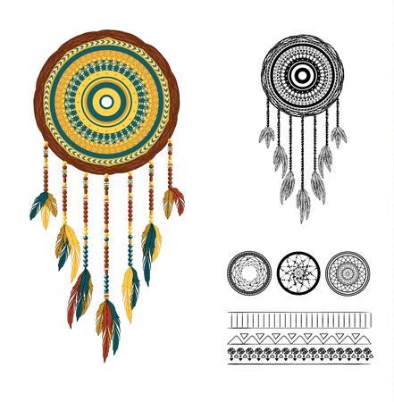 american history: Illustration geometrical dreamcatcher. Illustration