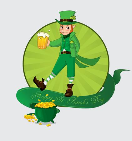 illustraion: Cute cartoon leprechaun with beer for patrick day. Vector illustraion