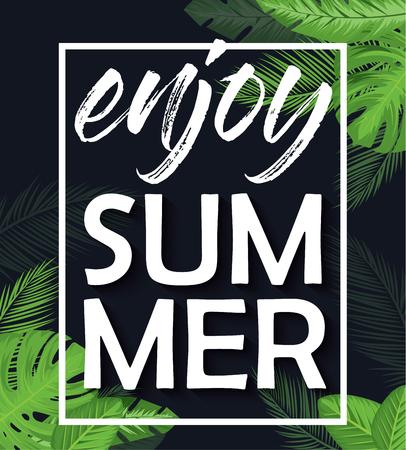 Enjoy summer vector poster over dark background