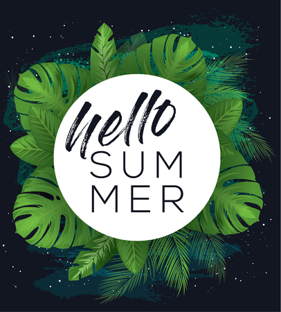Hello summer vector poster over dark brush painted background with tropical leaves