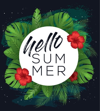 Hello summer vector poster over dark brush painted background with tropical leaves and flowers