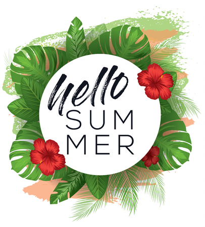 Hello summer vector poster over painted background with tropical leaves and flowers Vektorové ilustrace
