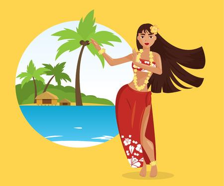 Hawaiian hula dancer young pretty woman. Vector illustration