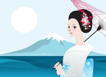 美しい日本の女性。富士マウント