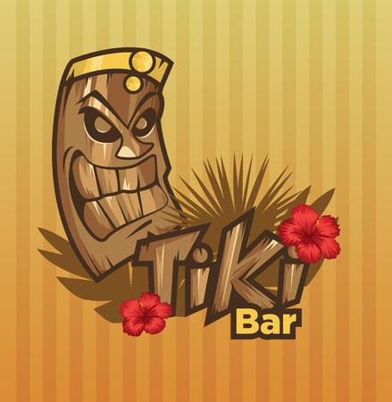 Tiki tribal mask. Tiki bar banner. Vector illustration. Hawaiian element Illustration