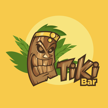masked: Tiki tribal mask. Tiki bar banner. Vector illustration. Hawaiian element Illustration